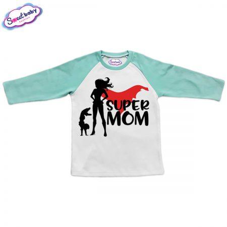 Блузка мента и бяло Super mom
