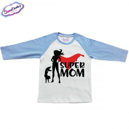 Блузка синьо и бяло Super mom