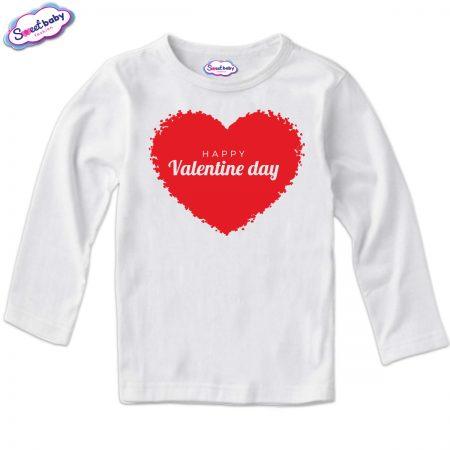 Детска блуза в бяло Happy Valentines