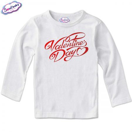 Детска блуза в бяло Valentines Day
