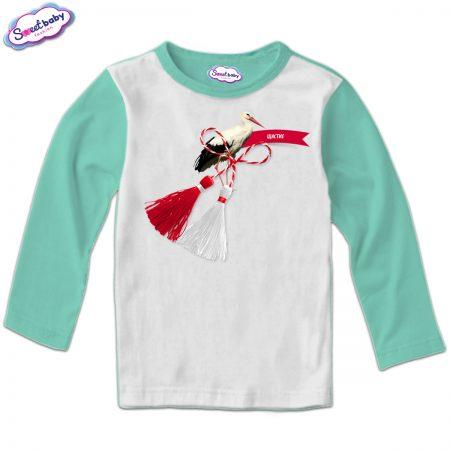Детска блуза мента и бяло Щастие