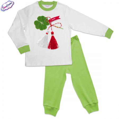 Детска пижама зелено бяло Късмет