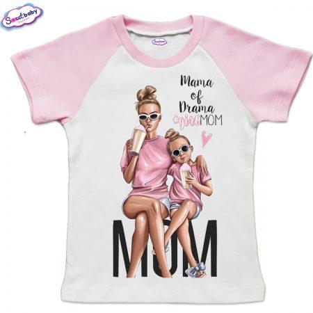 Детска тениска бяло и розово Girlmom