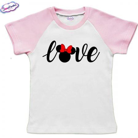 Детска тениска бяло и розово Loove