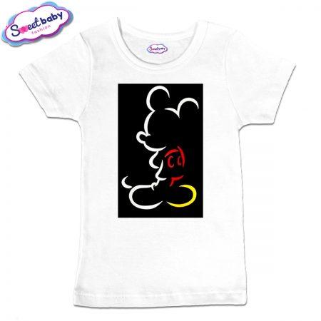 Детска тениска в бяло Маусче