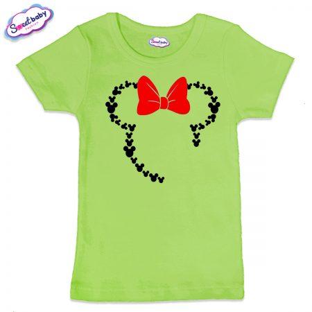 Детска тениска в зелено Маус панделка