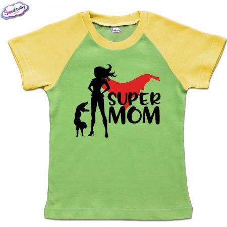 Детска тениска зелено жълто Super mom