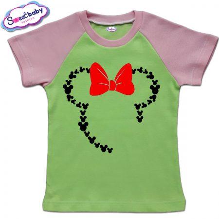 Детска тениска зелено розово Маус панделка
