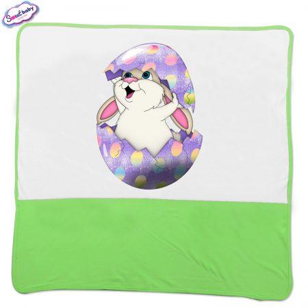 Бебешка пелена Великденско зайче в зелено