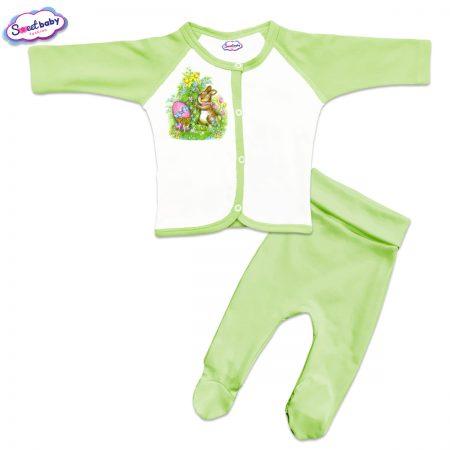 Бебешки сет Великденски зайо зелено