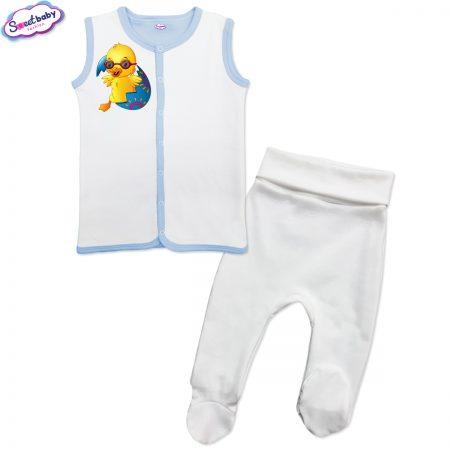 Бебешки сет Великденско пиленце бяло синьо