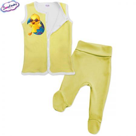 Бебешки сет Великденско пиленце жълто бяло