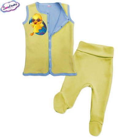 Бебешки сет Великденско пиленце жълто синьо
