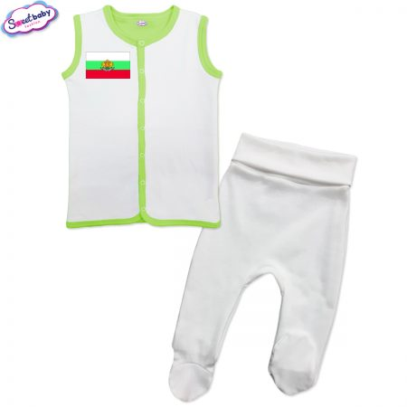 Бебешки сет бяло зелено Българско знаме