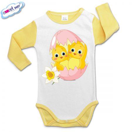 Бебешко боди Великденски пиленца жълто