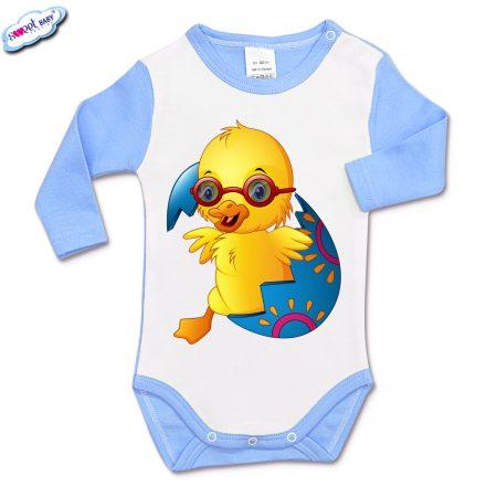 Бебешко боди в синьо Великденско пиленце