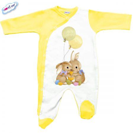 Бебешко гащеризон Великденски зайковци в жълто