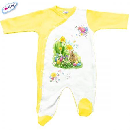 Бебешко гащеризон Великденски зайо в жълто