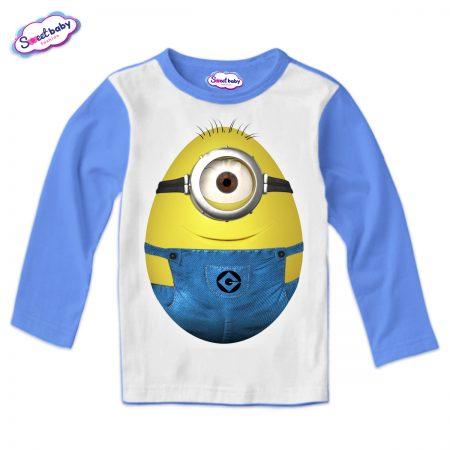 Детска блуза Миньон яйце синьо бяло