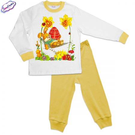 Детска пижама Боядисано яйце жълто бяло