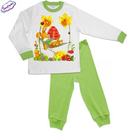 Детска пижама Боядисано яйце зелено бяло