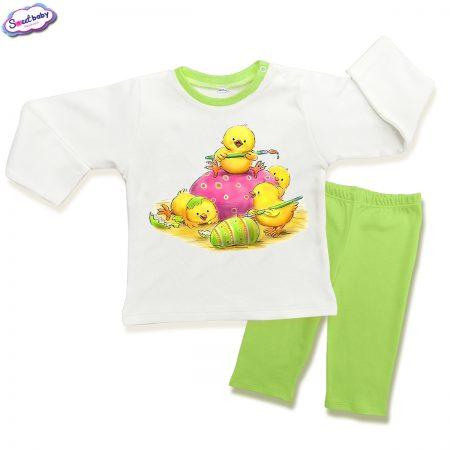 Детска пижама Великденски пиленца в зелено