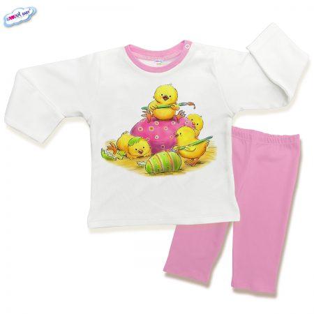 Детска пижама Великденски пиленца в розово