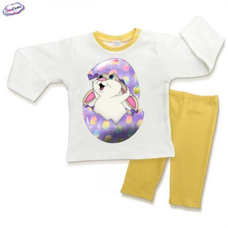 Детска пижама Великденско зайче в жълто