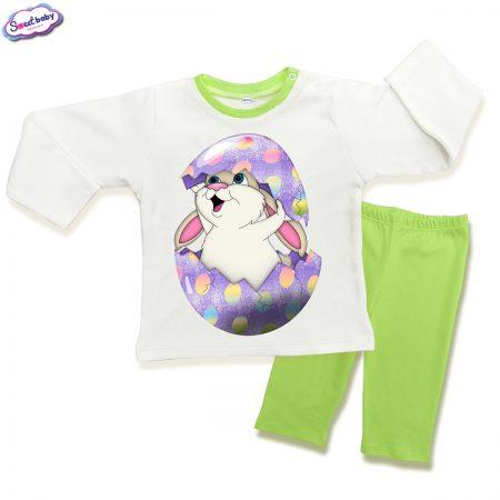 Детска пижама Великденско зайче в зелено
