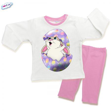 Детска пижама Великденско зайче в розово