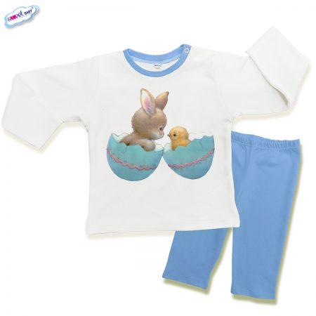 Детска пижама Зайче и пиле в синьо