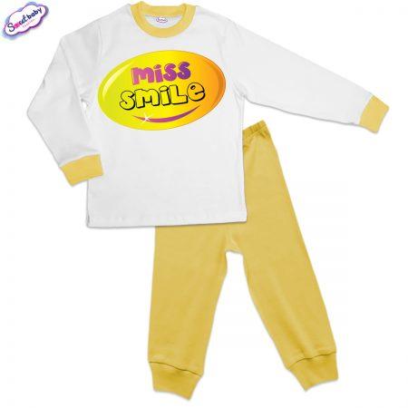 Детска пижама Усмивка жълто и бяло