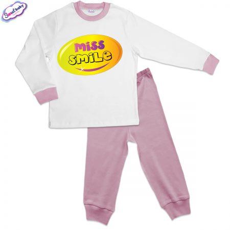 Детска пижама Усмивка розово и бяло