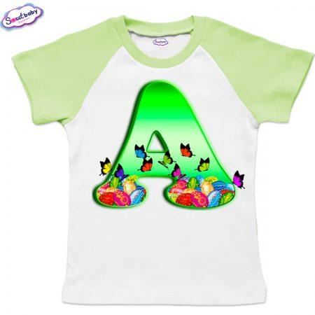 Детска тениска Великден А бяло зелено