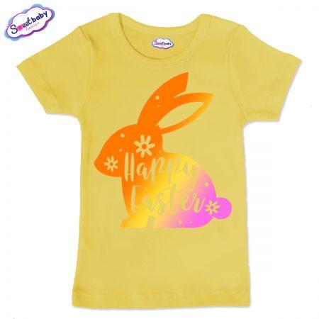 Детска тениска Цветно зайче в жълто