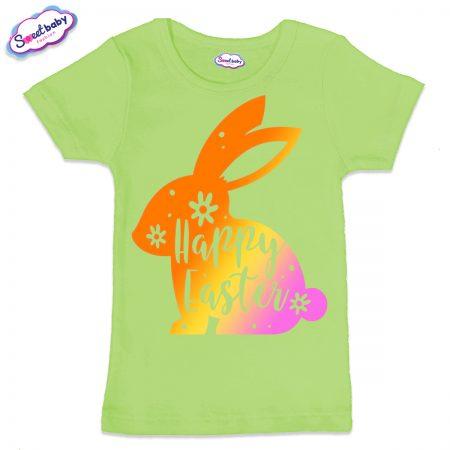 Детска тениска Цветно зайче в зелено
