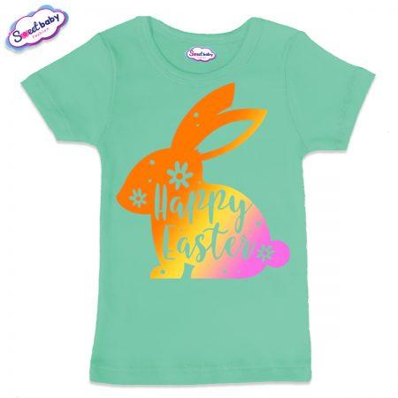 Детска тениска Цветно зайче в мента