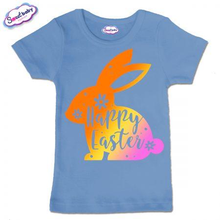 Детска тениска Цветно зайче в синьо