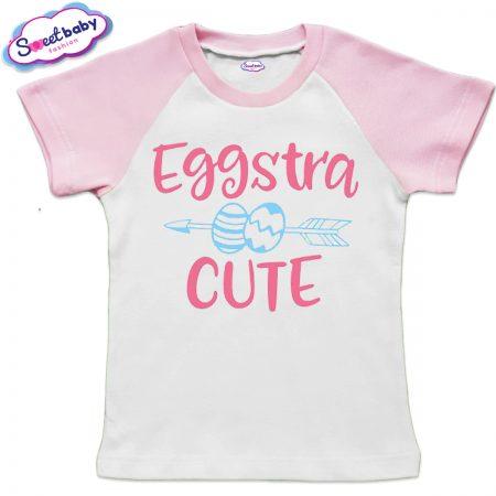 Детска тениска Eggstra бяло и розово