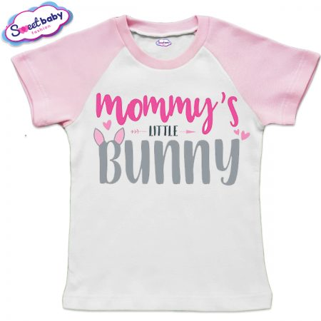Детска тениска Mommy bunny бяло розово