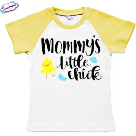 Детска тениска Mommy chick бяло жълто