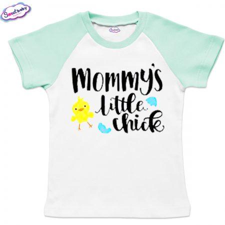 Детска тениска Mommy chick бяло мента