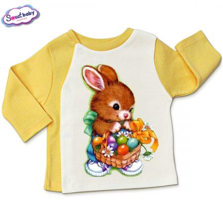 Бебешка жилетка Великденски яйца жълто