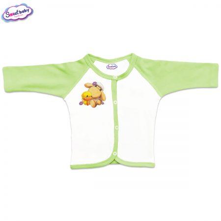 Бебешка жилетка Милички предно закопчаване зелено