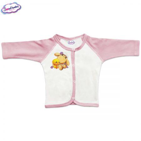 Бебешка жилетка Милички предно закопчаване розово
