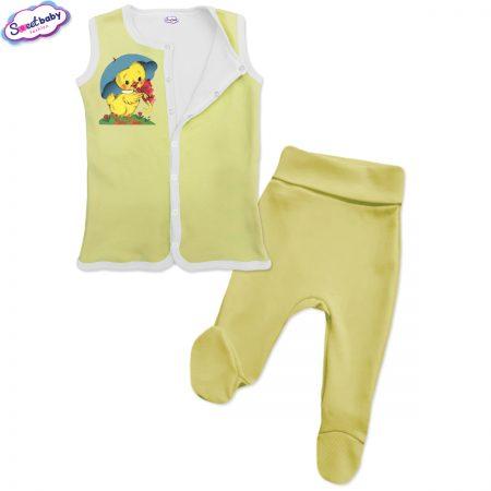 Бебешки сет Пате с чадърче жълто бяло