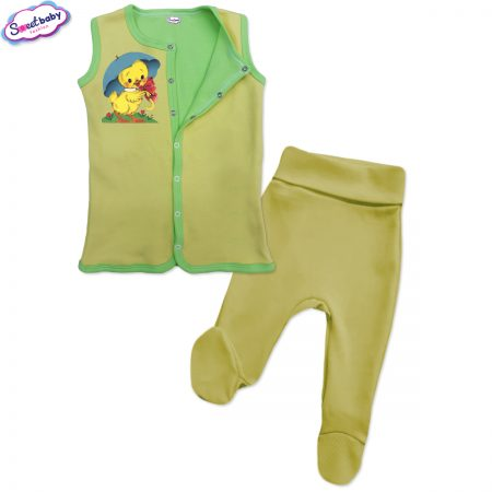Бебешки сет Пате с чадърче жълто зелено