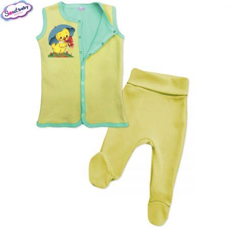 Бебешки сет Пате с чадърче жълто мента