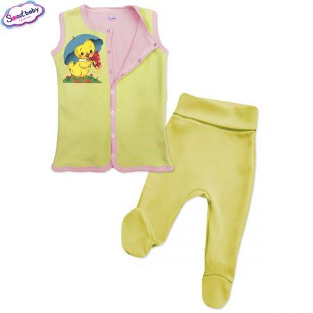 Бебешки сет Пате с чадърче жълто розово