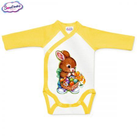 Бебешко боди прегърни ме Великденски яйца жълто